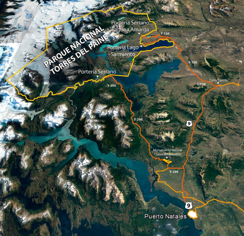 Mapa Torres del Paine, extraído del sitio oficial del Parque Nacional - Sueños Viajeros
